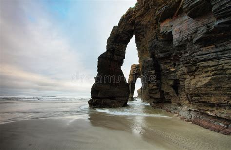Beach Of The Cathedrals In Ribadeo, Spain Stock Photo