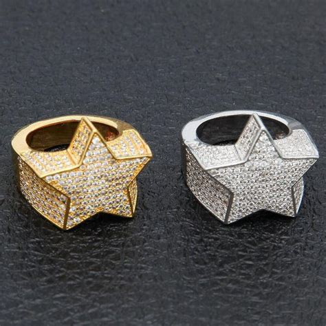 Migos star ring fully iced out 3D White gold – Bijouterie