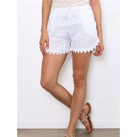 Short femme 100 % lin blanc made in italy