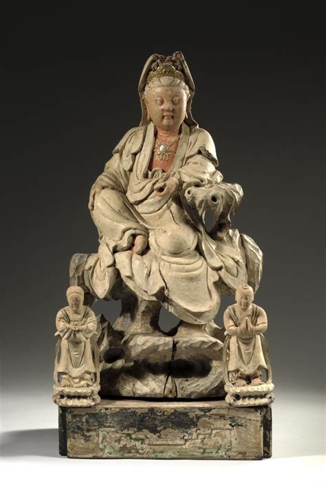 A Chinese polychromed wooden sculpture of Bodhisattva